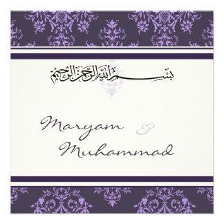 Invitación púrpura islámica del boda del bismillah