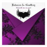 Invitación púrpura, negra, blanca gótica del boda