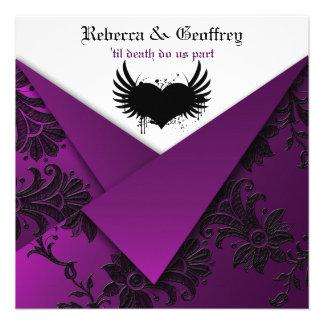 Invitación púrpura negra blanca gótica del boda