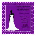 invitación púrpura oscura del boda de la novia 5x5