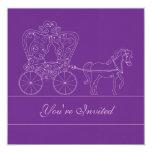 invitación púrpura oscura del boda del carro 5x5