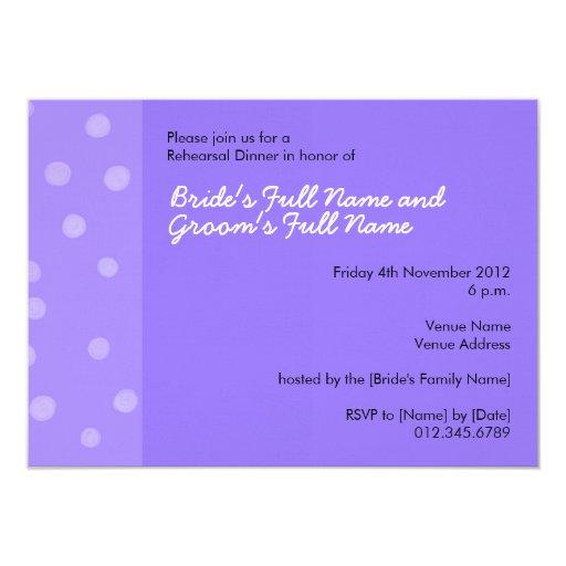 Invitación púrpura pintada de la cena del ensayo invitación 11,4 x 15,8 cm