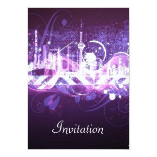 Invitación púrpura PurpleCity de la fiesta de