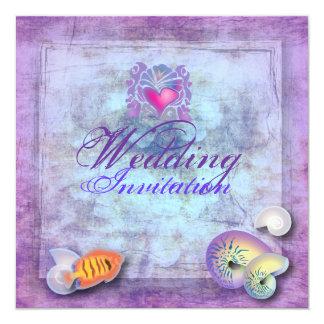 Invitación púrpura romántica del boda de playa del