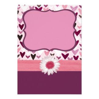 Invitación Púrpura-Rosada de los corazones