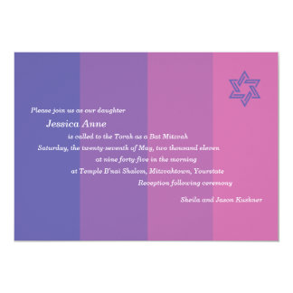 Invitación púrpura tonal de Mitzvah del palo Invitación 12,7 X 17,8 Cm