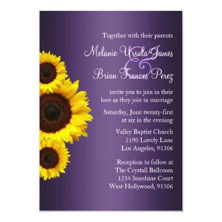 Invitación púrpura y amarilla del boda del girasol