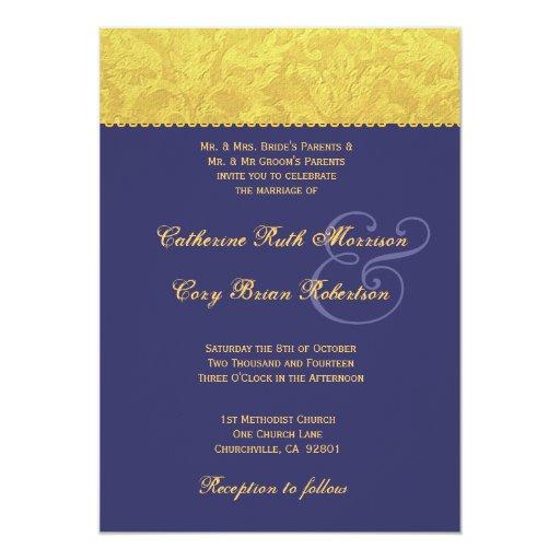 Invitación púrpura y amarilla R436 del boda del