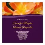 Invitación púrpura y anaranjada del boda invitación 13,3 cm x 13,3cm