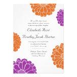 Invitación púrpura y anaranjada del boda de la flo