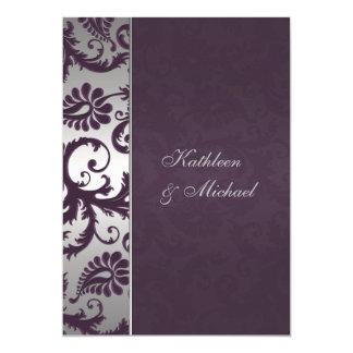 Invitación púrpura y de plata de Lapis del damasco