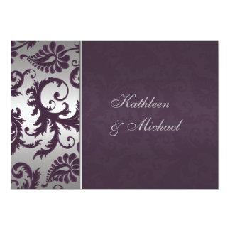 Invitación púrpura y de plata de Lapis del damasco Invitación 12,7 X 17,8 Cm