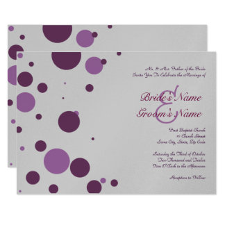 Invitación púrpura y de plata del boda del lunar