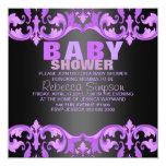 Invitación púrpura y negra de la fiesta de