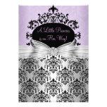 Invitación púrpura y negra de la fiesta de bienven