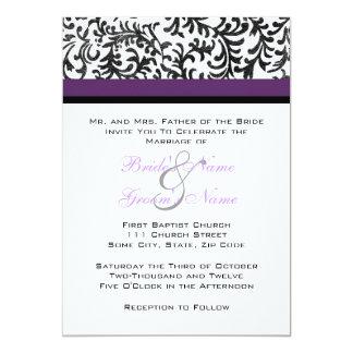 Invitación púrpura y negra del boda