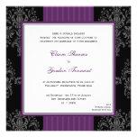 Invitación púrpura y negra del boda del damasco