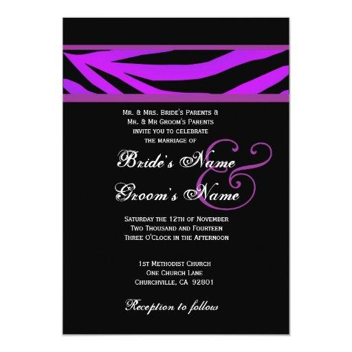 Invitación púrpura y negra del boda del tigre