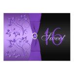 Invitación púrpura y negra del fiesta del dulce