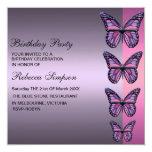 Invitación púrpura y rosada del cumpleaños de la invitación 13,3 cm x 13,3cm