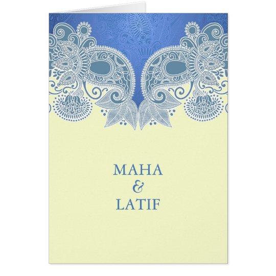 Invitación que se casa doblada floral azul del tarjeta de felicitación