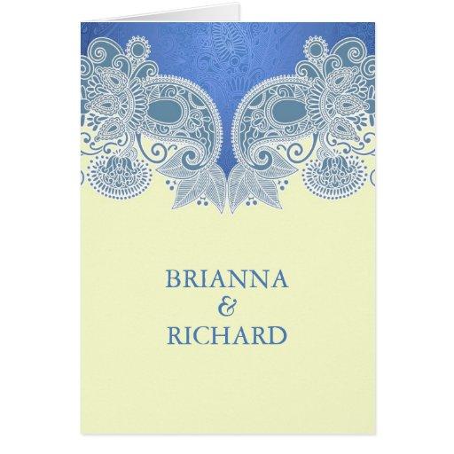 Invitación que se casa doblada floral azul del Vic Felicitaciones