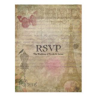 Invitación que se casa elegante de París RSVP del Postal
