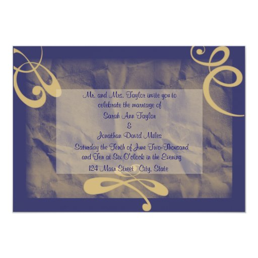 Invitación que se casa texturizada azul/de color invitación 12,7 x 17,8 cm
