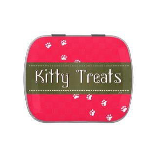 Invitación que viaja del gato del gatito del fondo jarrones de dulces