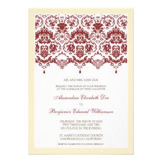 Invitación querida del boda del cordón del damasco