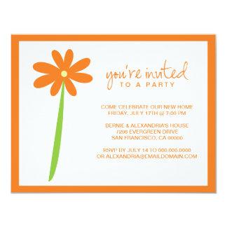 Invitación querida del fiesta de la flor (naranja)