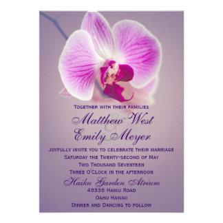 Invitación radiante púrpura del boda de la orquíde