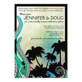 Invitación rara del boda del destino de la isla invitación 12,7 x 17,8 cm