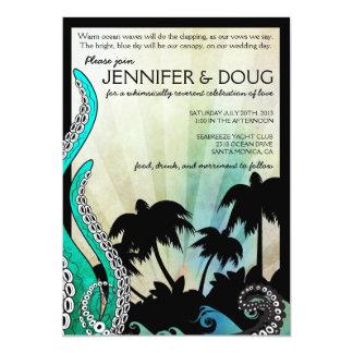 Invitación rara del boda del destino de la isla