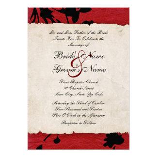Invitación rasgada roja y negra del boda de papel