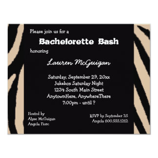 Invitación rayada cebra del fiesta de Bachelorette