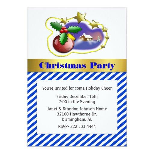 Invitación rayada elegante de la fiesta de Navidad