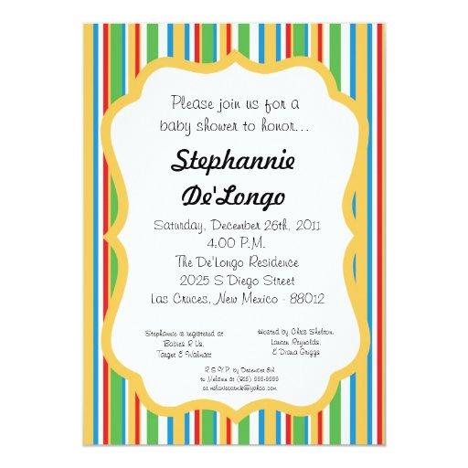 invitación rayada multicolora de la fiesta de