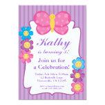 Invitación rayada púrpura de la fiesta de invitación 12,7 x 17,8 cm