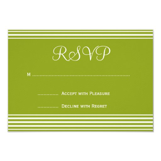 Invitación rayada verde y blanca RSVP del boda