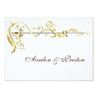 Invitación real del boda de la espada de la cinta