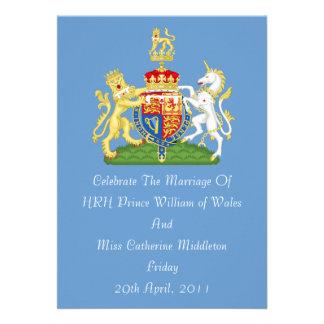 Invitación real del escudo de armas del boda (azul