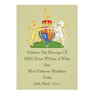Invitación real del escudo de armas del boda (de c