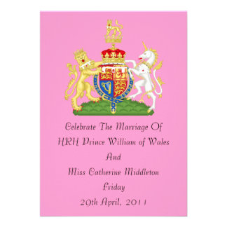 Invitación real del escudo de armas del boda (rosa