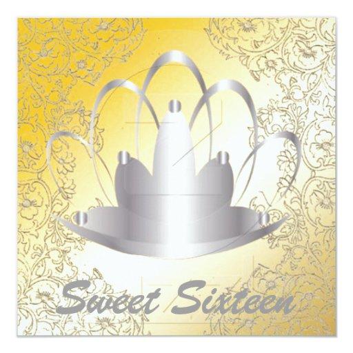 Invitación real del oro de la plata de la tiara