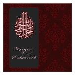 Invitación real roja islámica del boda del bismill