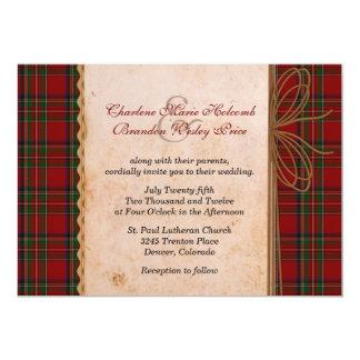 Invitación real rústica del boda de la tela