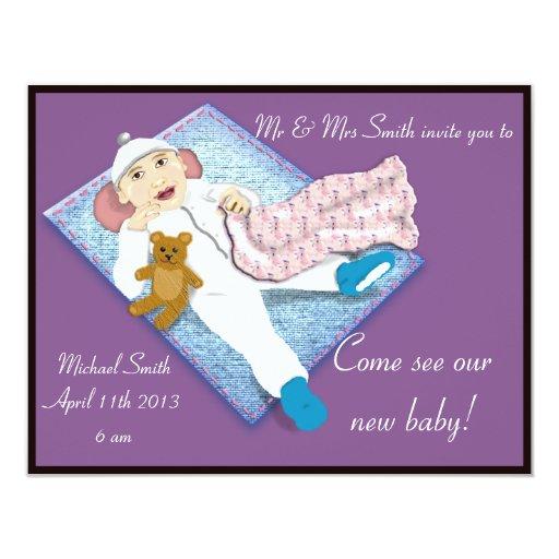 invitación recién nacida 2 invitación 10,8 x 13,9 cm