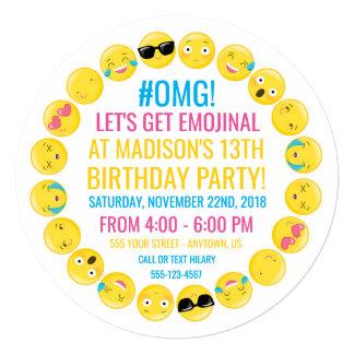 Invitación redonda de la fiesta de cumpleaños de