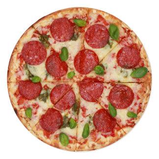 Invitación redonda del fiesta de la pizza - SRF